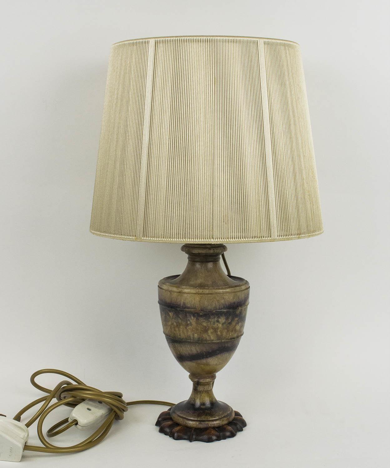 BLUE JOHN URN, late 18th century converted to a lamp, the fluorite Derbyshire spar with familiar