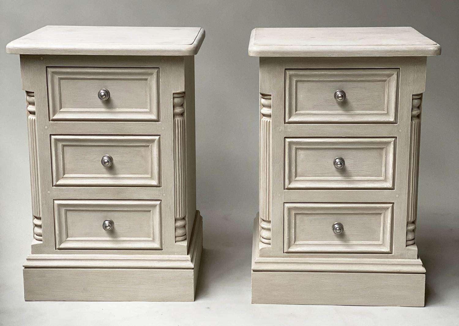 BEDSIDE CHESTS, a pair, French style grey painted, each with three drawers, 49cm x 47cm x 76cm H. (