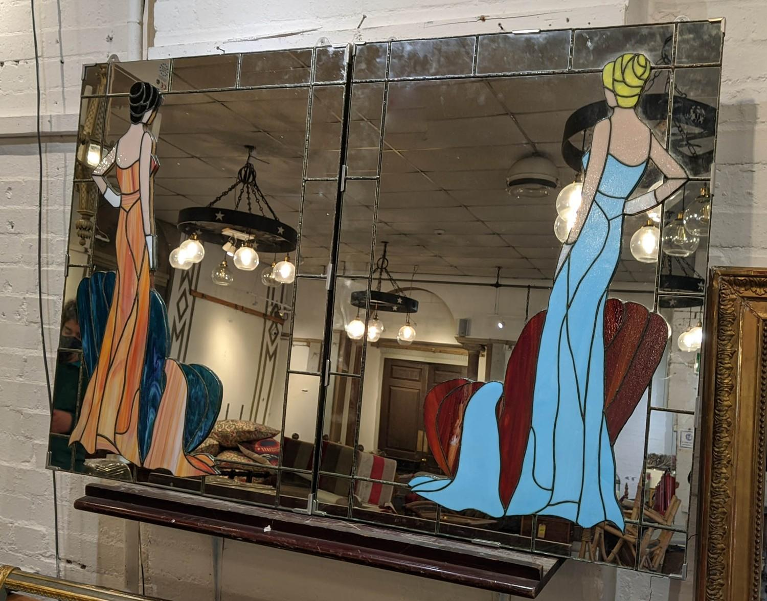WALL MIRRORS, a set of two, with stained glass Art Deco style female figure detail detail, 93cm x