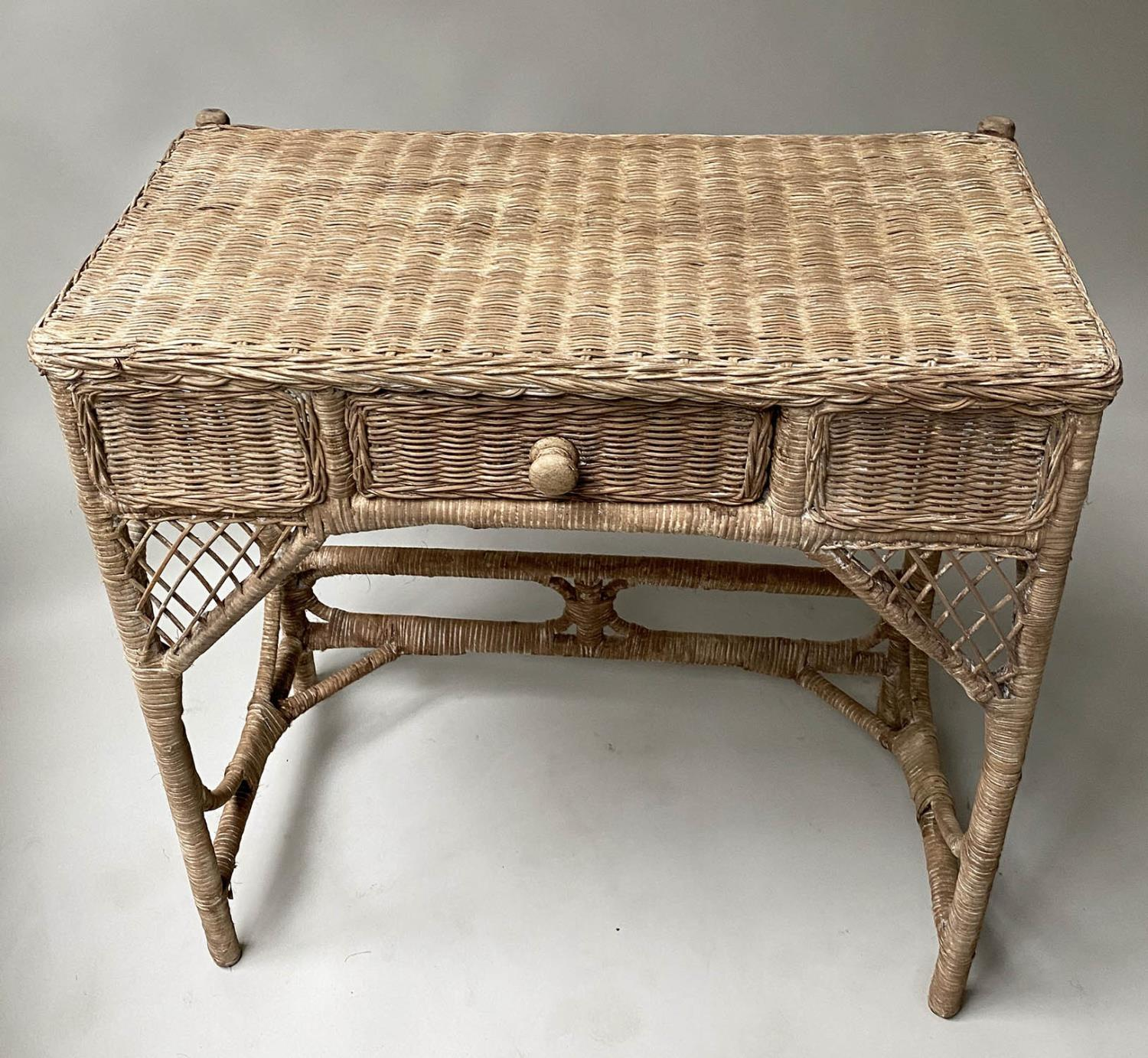 CONSOLE/HALL TABLE, vintage rattan and cane woven, with frieze drawer, 76cm W x 77cm x 42cm. - Image 4 of 7