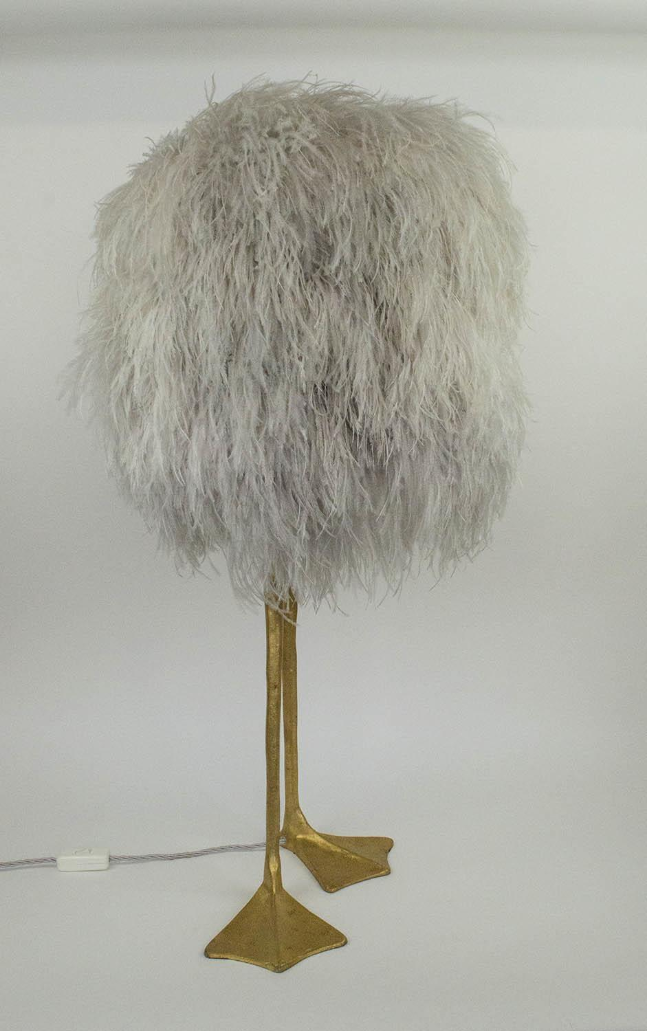 PORTA ROMANA DUCK FEET TABLE LAMP, decayed gold finish with ostrich feather shade, 85cm H.