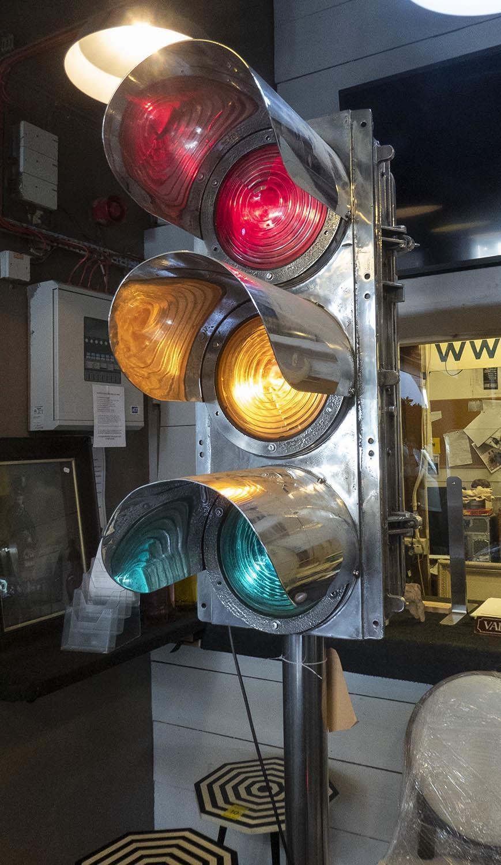 WESTINGHOUSE BRAKE AND SIGNAL CO TRAFFIC LIGHT FLOOR LAMP, vintage 20th century English repurposed