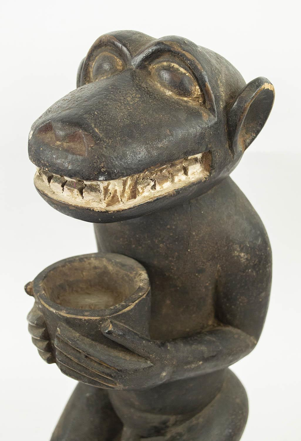 BAULE MONKEY FIGURE, Ivory Coast, holding a bowl for offerings, 55cm H. - Image 4 of 4