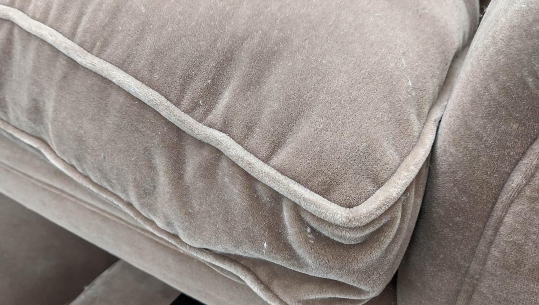 GEORGE SMITH SOFA, mohair velvet finish, Howard style, 208cm W. - Image 3 of 4