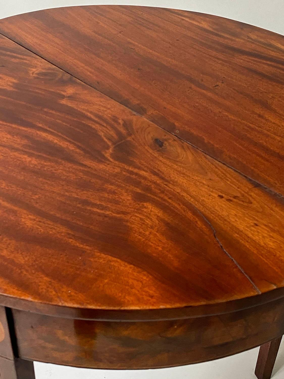 TEA TABLE, George III flame mahogany with demi lune foldover top and satinwood paterae headed - Image 2 of 6