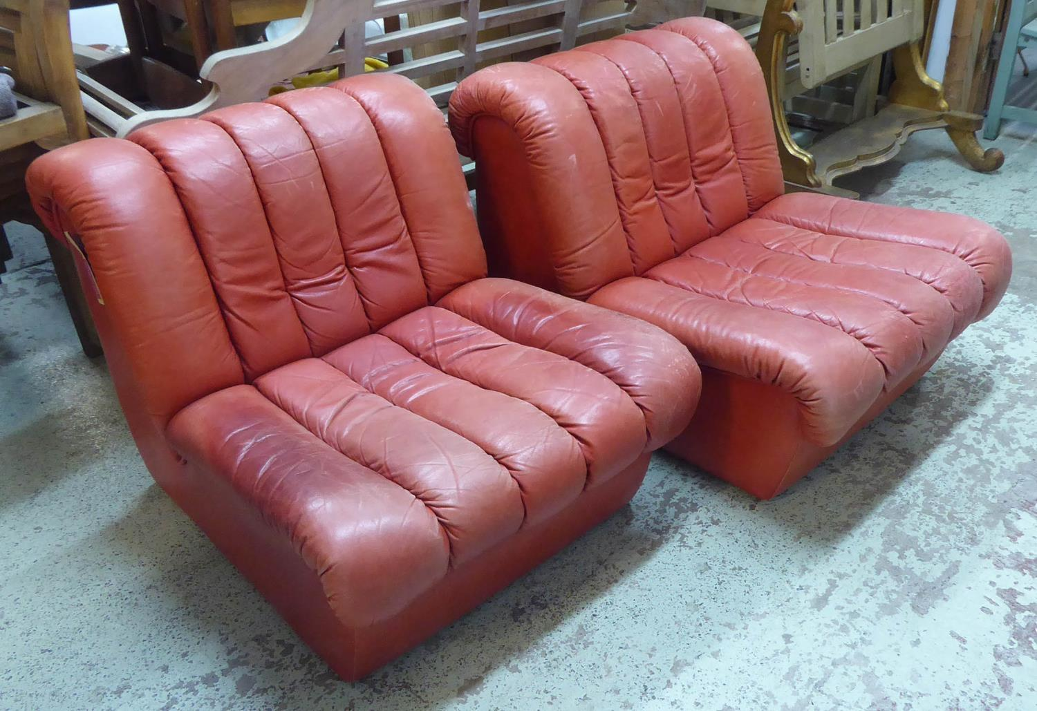 MANNER OF DE SEDE, DS85 DESIGN LOUNGE CHAIRS, a pair, vintage 20th century, 75cm W. (2)
