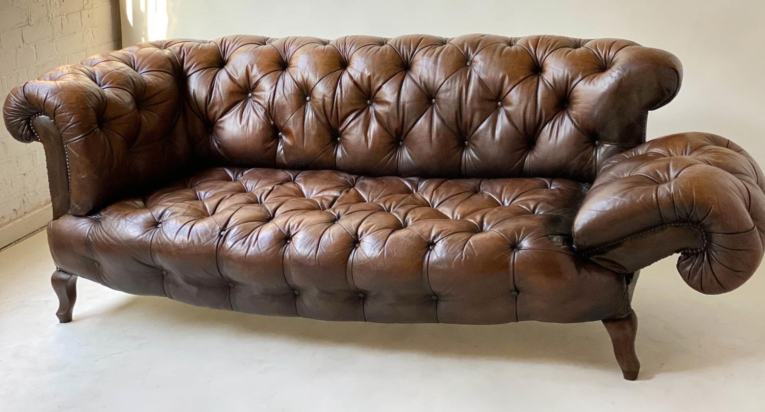 CHESTERFIELD SOFA, early 20th century Edwardian aged and faded brown leather with horsehair buttoned - Image 7 of 10
