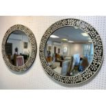 WALL MIRRORS, a pair, Moorish design inlaid frames, 61cm D. (2)