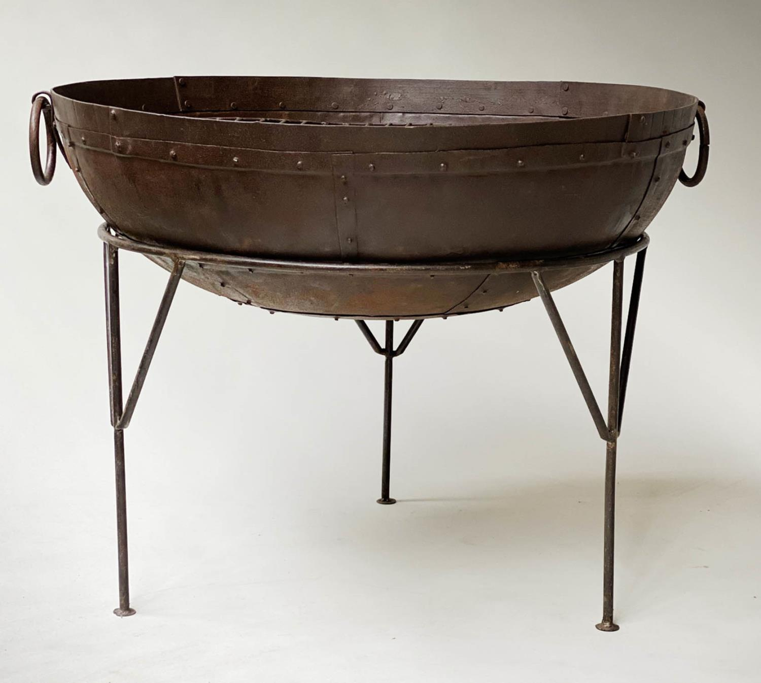 FIREPIT, riveted bowl form with grill and wrought iron stand, 84cm x 65cm H. - Image 2 of 5