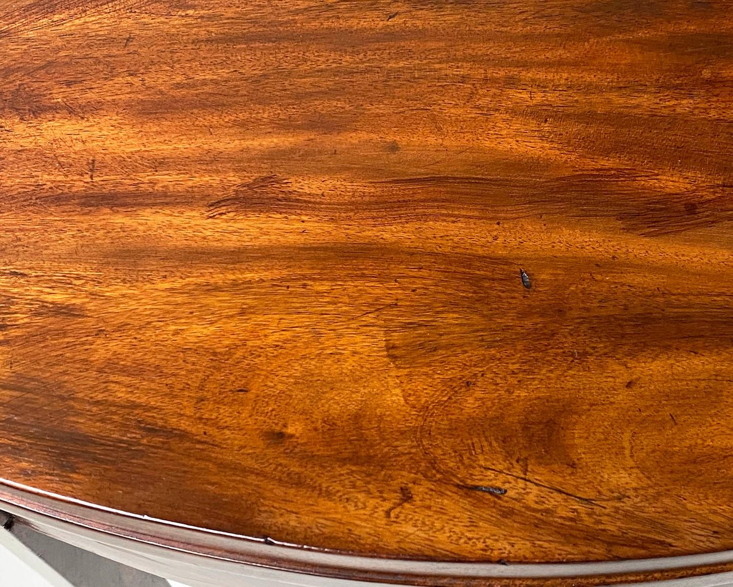 TEA TABLE, George III flame mahogany with demi lune foldover top and satinwood paterae headed - Image 4 of 6