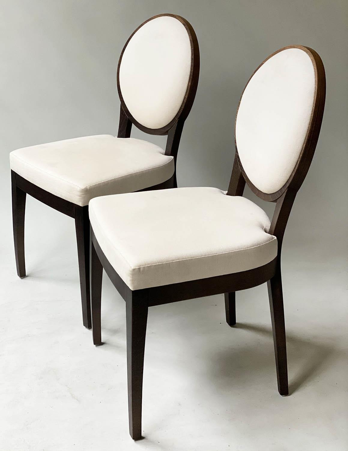 BEDROOM CHAIRS, a pair, contemporary white cotton oval with oak veneered frames, 50cm W. (2) - Image 9 of 9