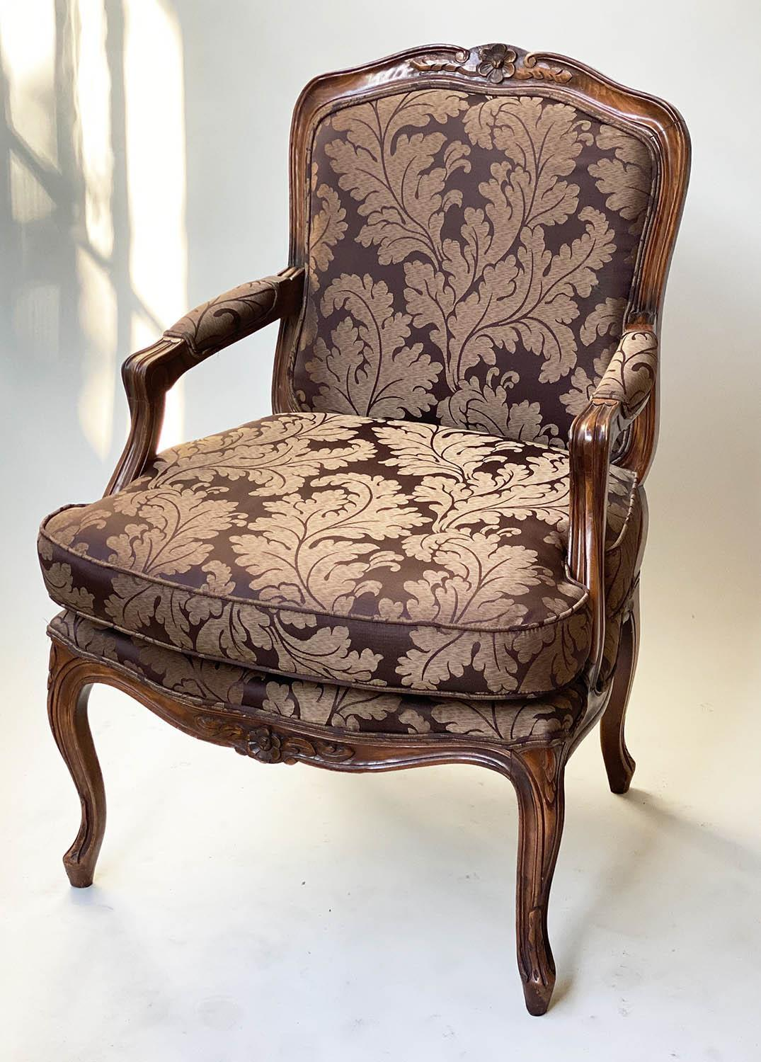 FAUTEUILS, a pair, French Louis XV style, stained walnut, with two tone brown leaf silk - Image 8 of 9