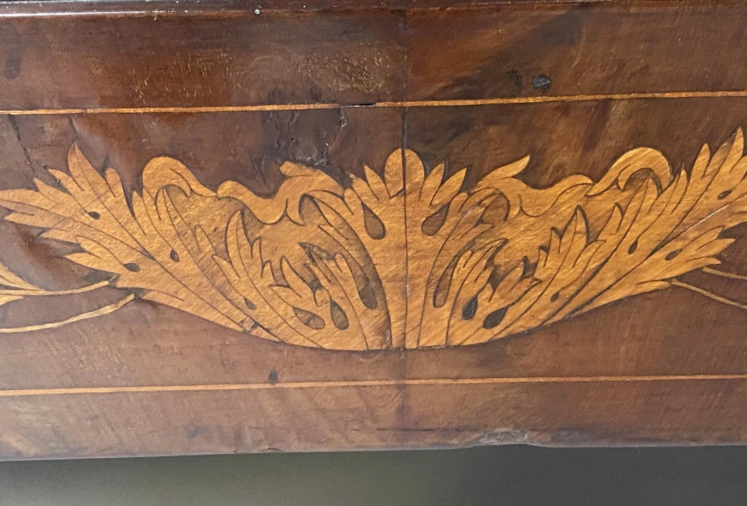 DUTCH COMMODE, 19th century mahogany and foliate satinwood inlaid with variegated white marble and - Image 6 of 8
