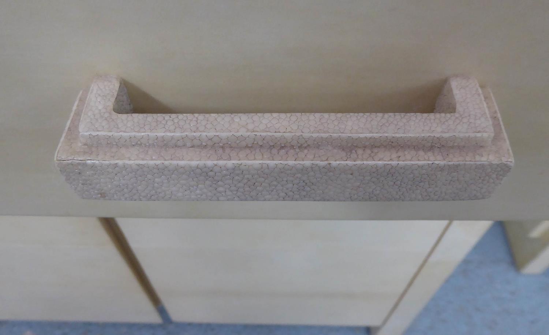 SIDEBOARD, contemporary parchment finish, faux shagreen handles, 150cm x 42cm x 85cm. - Image 3 of 6