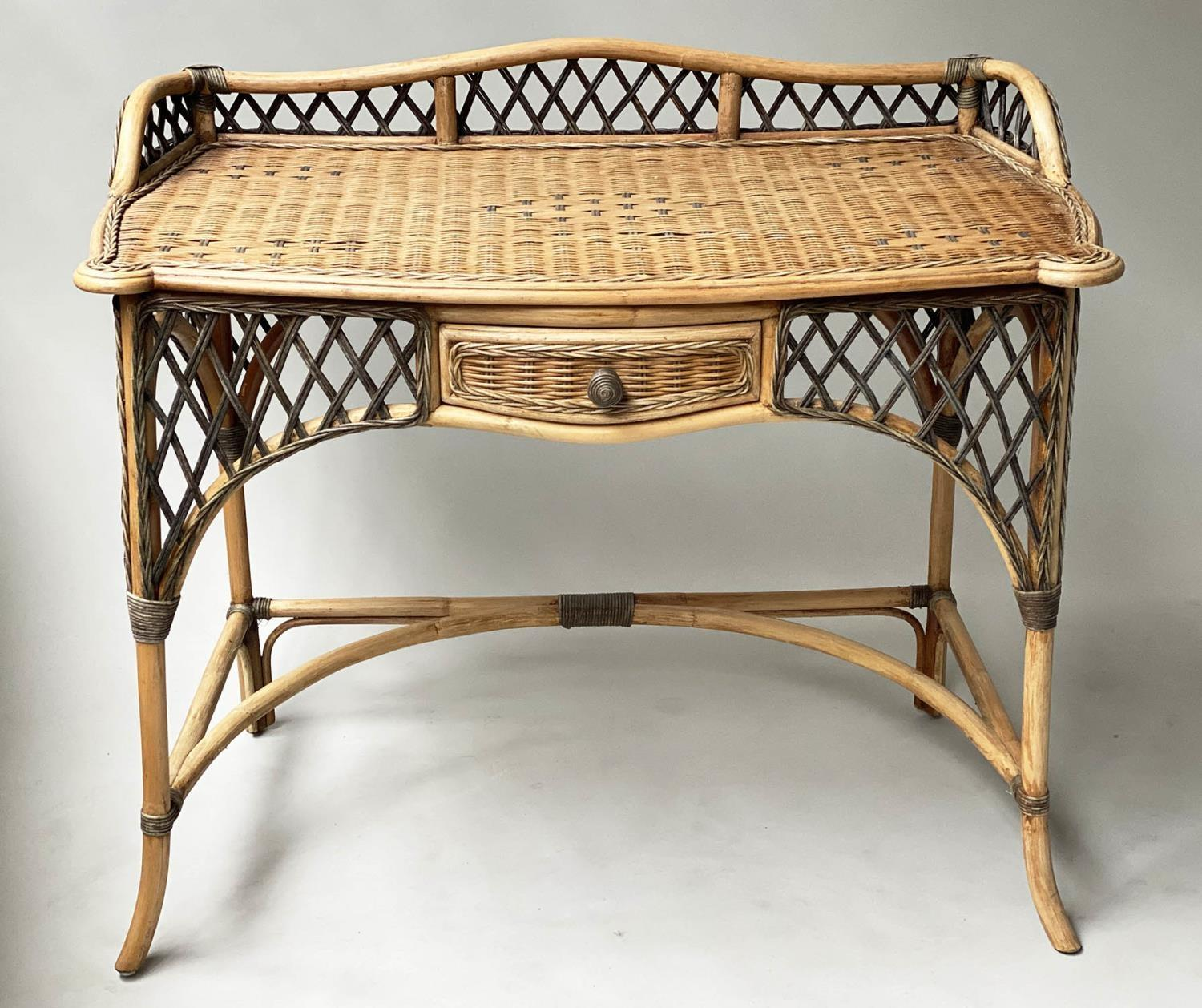 SIDE/WRITING TABLE, vintage Ralph Lauren style two tone rattan with gallery and frieze drawer, 103cm
