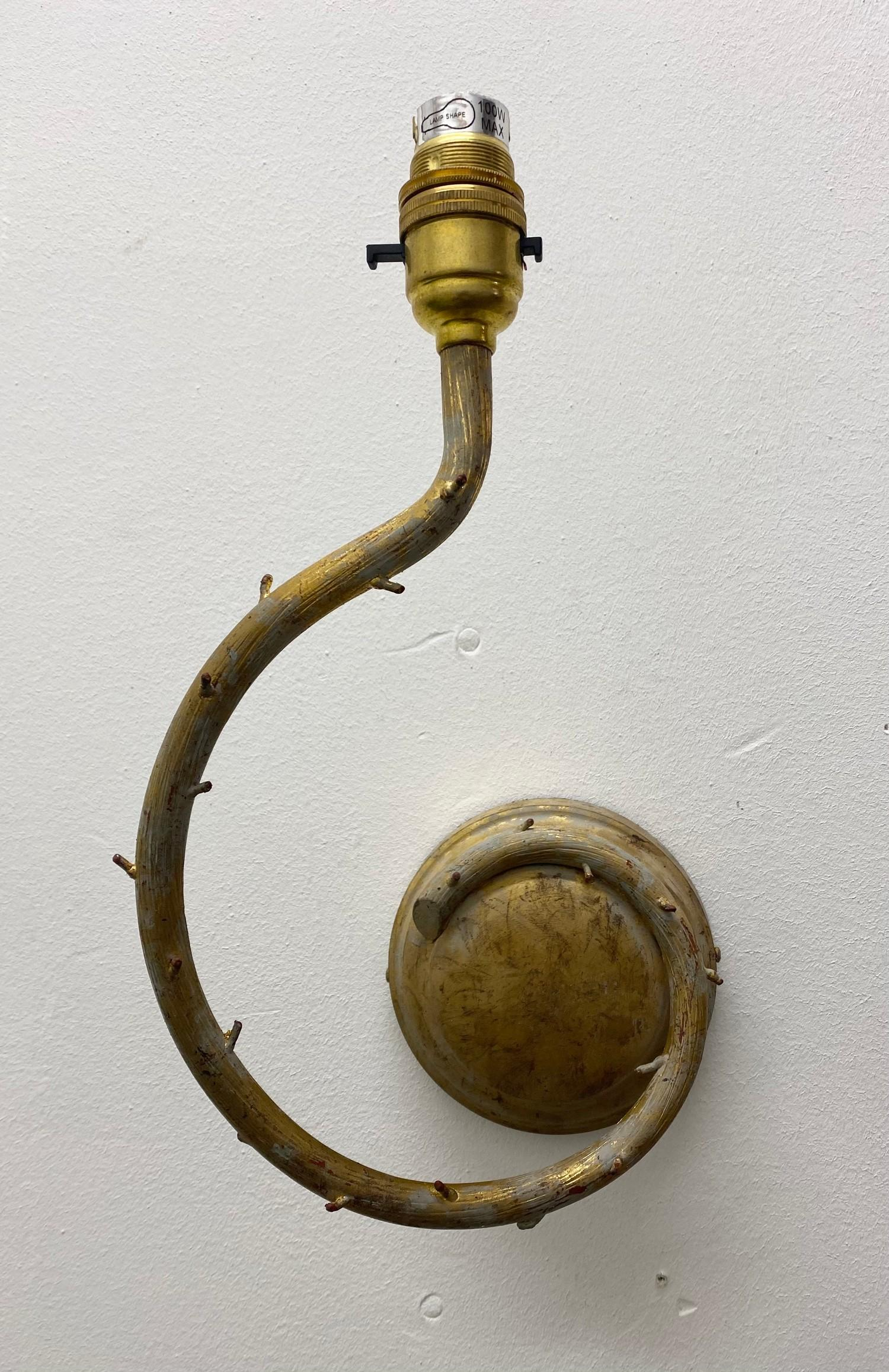 PORTA ROMANA WALL LIGHTS, a near pair, naturalistic branch design in decayed gold, largest 32cm - Image 5 of 5
