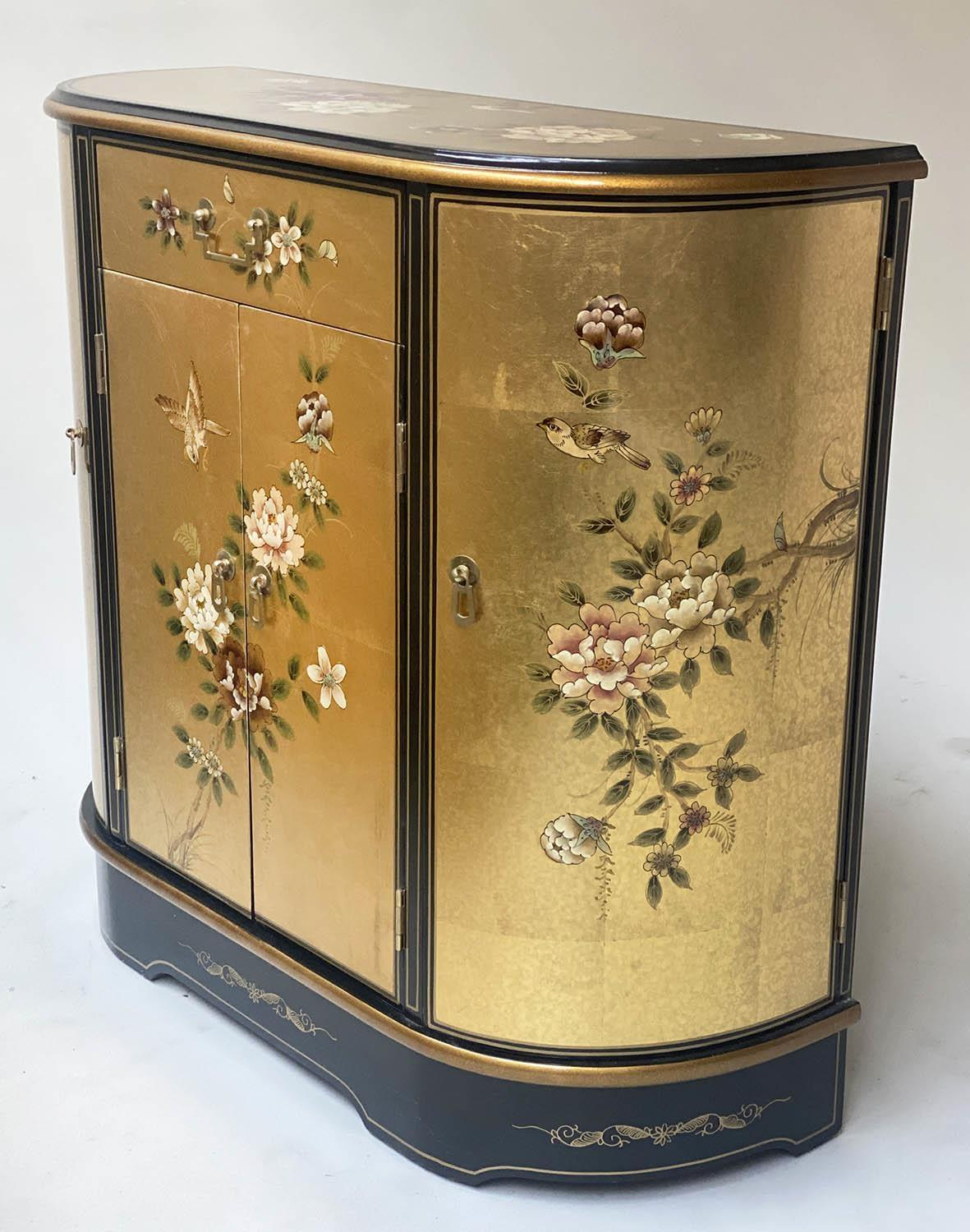 SIDE CABINET, 20th century Chinese D outline gilt lacquer and flower decorated with drawer and - Image 3 of 9