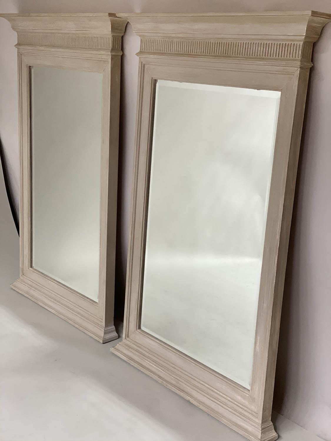 PIER MIRRORS, a pair, Regency style grey painted each with cornice, fluted frieze and bevelled