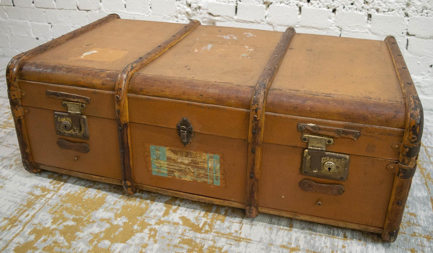 TRUNK, early 20th century canvas and bentwood with brass studs and mounts, bears original luggage - Image 2 of 10