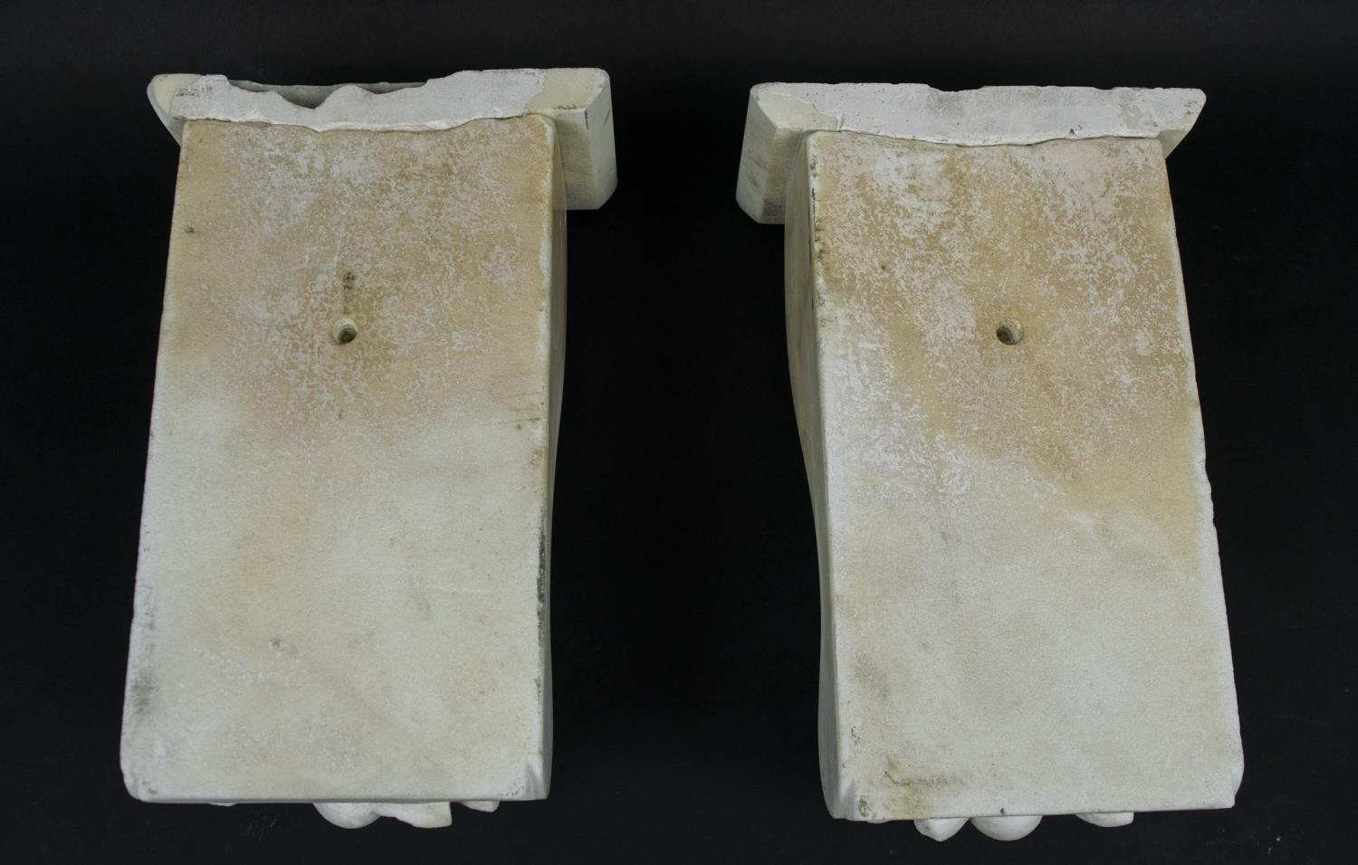 CORBELS, a pair, Victorian carved marble, of flowers and fruit, 30cm H x 18cm W. (2) - Image 6 of 6