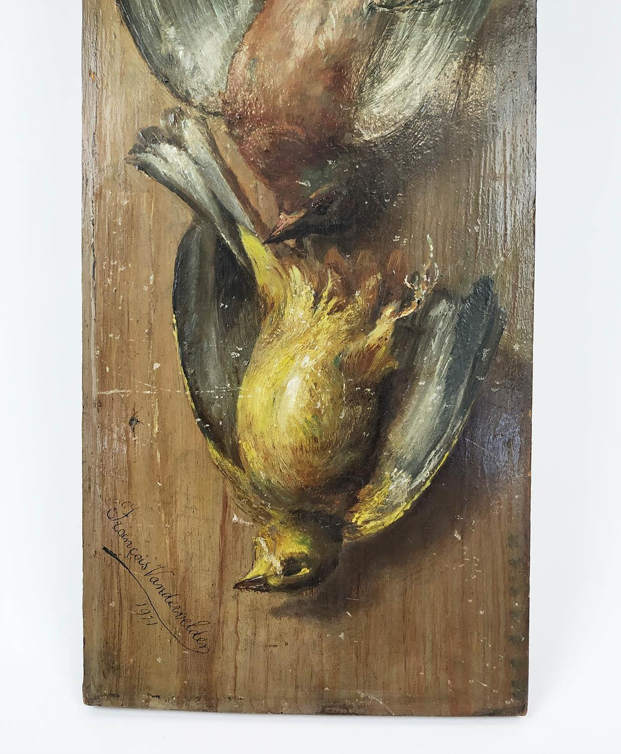 DUTCH/FLEMISH SCHOOL TROMPE L'OEIL, oil on panel, study of hanging birds, signed and dated - Image 2 of 4