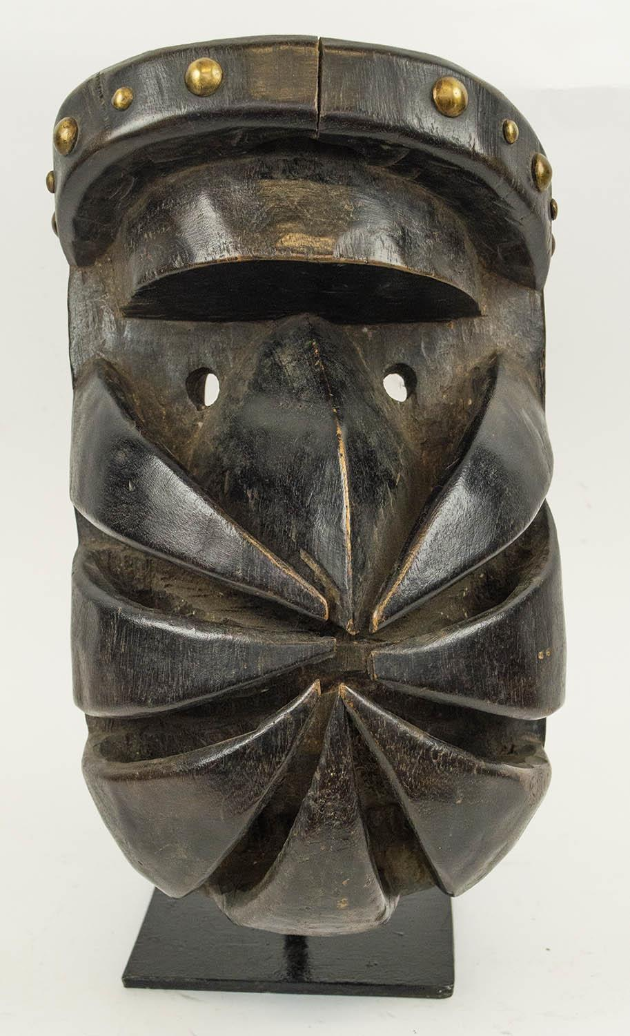 BETE WARRIOR MASK, Ivory Coast, carved wood, 40cm H.