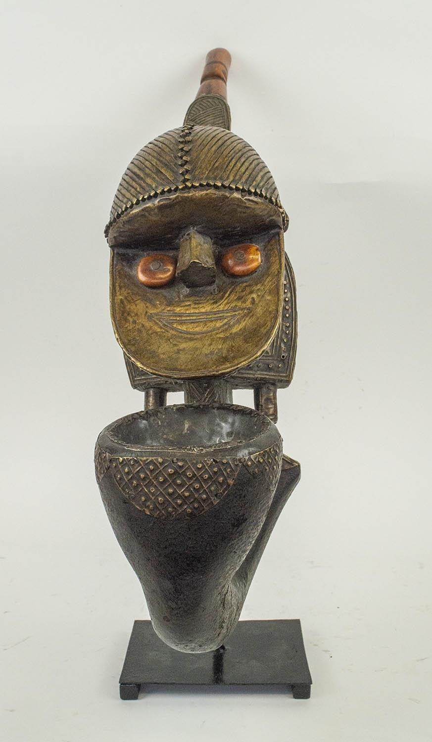 KOBA PEOPLE'S PIPE, from Gabon, copper and carved wood, 55cm H.