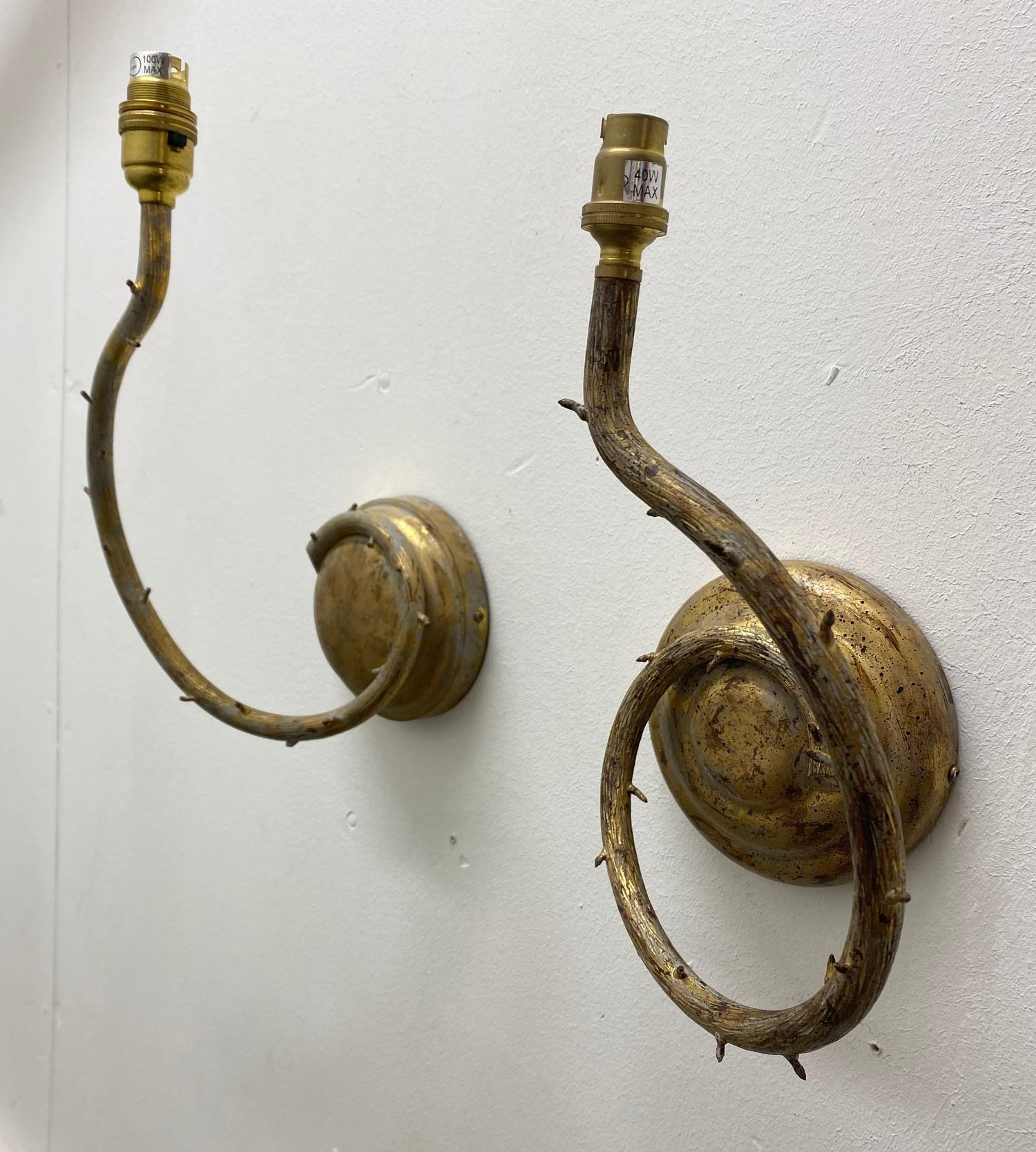PORTA ROMANA WALL LIGHTS, a near pair, naturalistic branch design in decayed gold, largest 32cm - Image 3 of 5