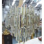 CHANDELIER, 1970's Italian style, polished metal with crystal detail, 220cm drop.