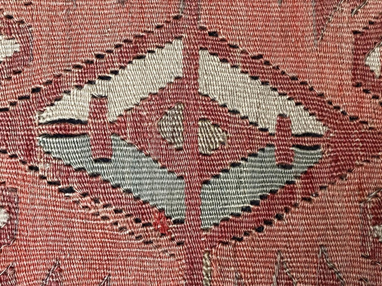 GEORGE SMITH KELIM HEARTH STOOL, rectangular antique kelim upholstered with solid mahogany turned - Image 2 of 9