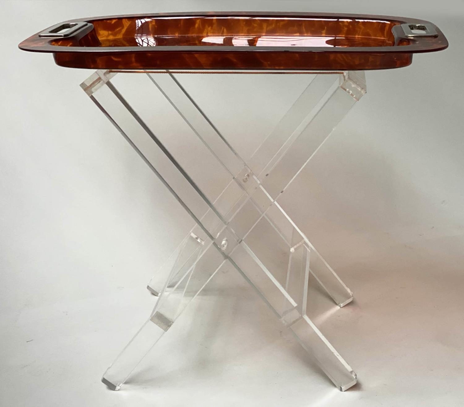 TRAY ON STAND, rectangular faux tortoiseshell with silvered metal handles on folding lucite stand, - Image 8 of 8