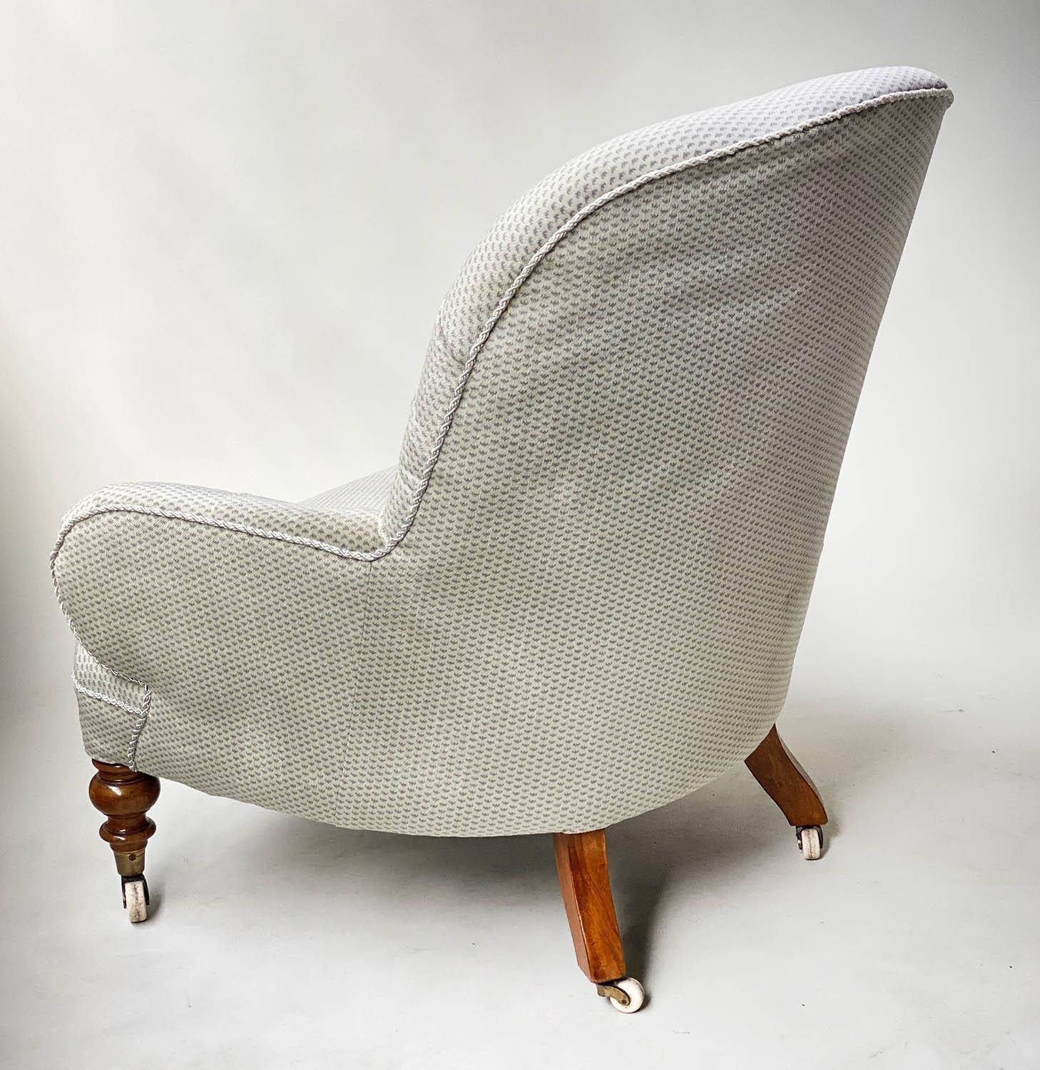 ARMCHAIR, Victorian walnut in Colefax and Fowler style printed sateen with button back silver silk - Image 2 of 6