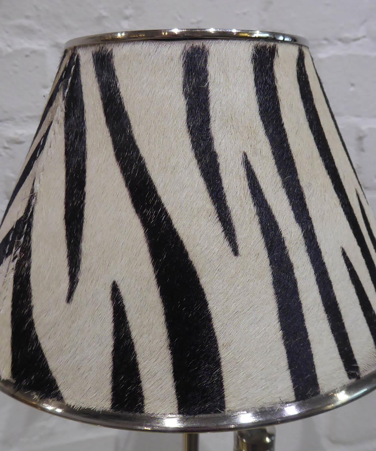 LIBRARY READING LAMPS, a pair, faux zebra skin shades, 89cm at tallest approx. (2) - Image 3 of 3