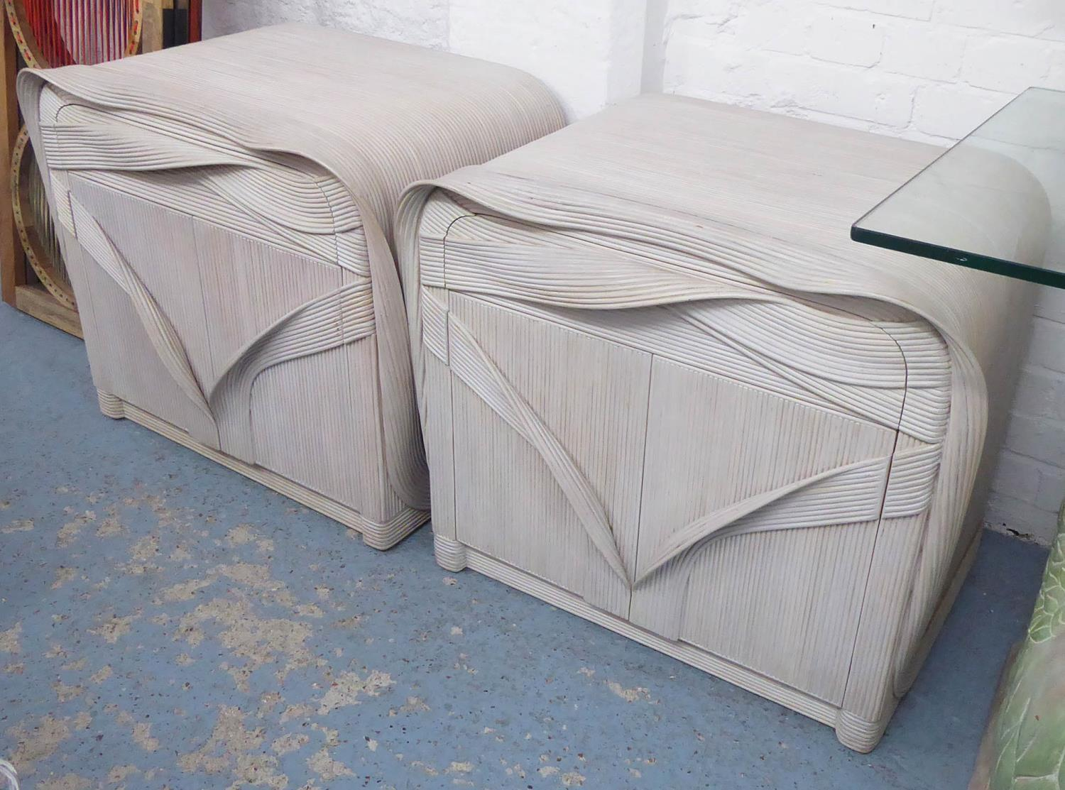 BETTY COBONPUE SOULTURRA COLLECITON BEDSIDE CABINETS, a pair, each with a drawer over a cupboard, (