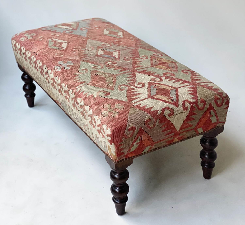 GEORGE SMITH KELIM HEARTH STOOL, rectangular antique kelim upholstered with solid mahogany turned - Image 5 of 9