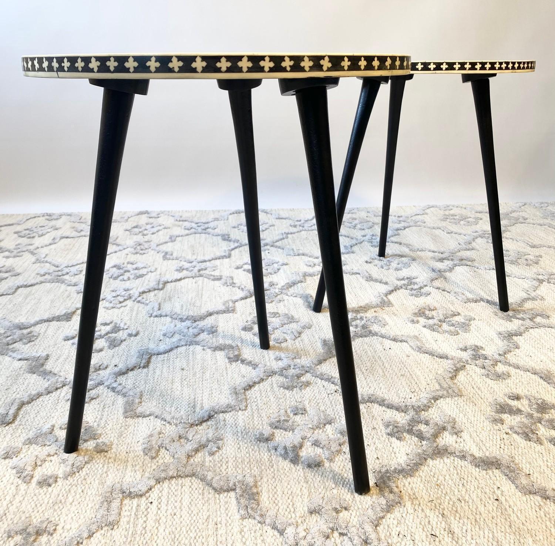 LAMP TABLES, a pair, Moorish design inlaid tops on tripod metal legs, 47cm H x 41cm x 41cm. (2) - Image 5 of 5