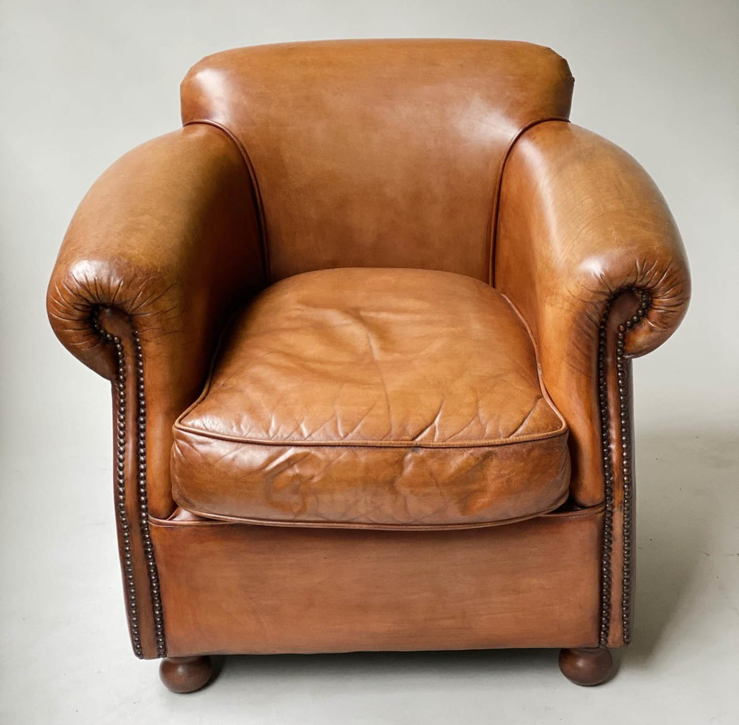 CLUB ARMCHAIRS, a pair, tobacco leaf brown leather and brass studded with scroll arms, 83cm W. (2) - Image 4 of 6
