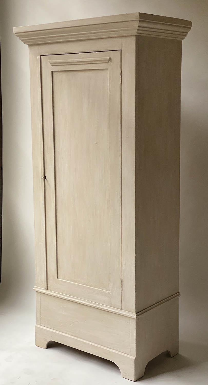 ARMOIRE, 19th century, traditionally grey painted with panelled door enclosing hanging space, - Image 2 of 4