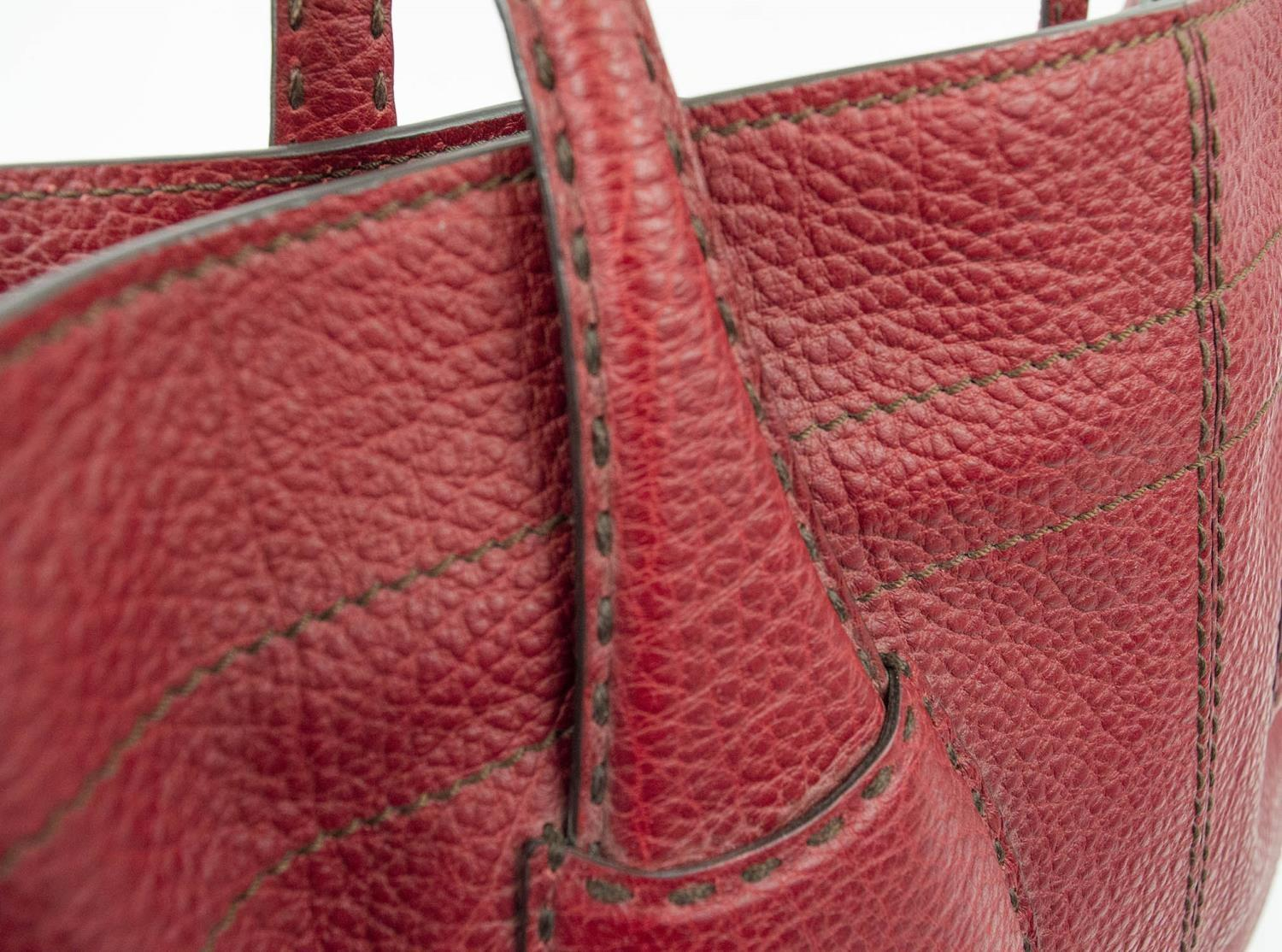 TOD'S DRAWSTRING TOTE BAG, leather with optional tightening drawstring closure, silver tone bottom - Image 3 of 8