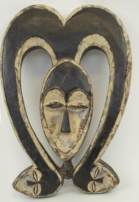 KWELE MASK, from Gabon, ritual antelope mask, 40cm H.