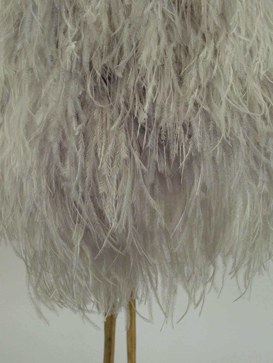 PORTA ROMANA DUCK FEET TABLE LAMP, decayed gold finish with ostrich feather shade, 85cm H. - Image 2 of 6