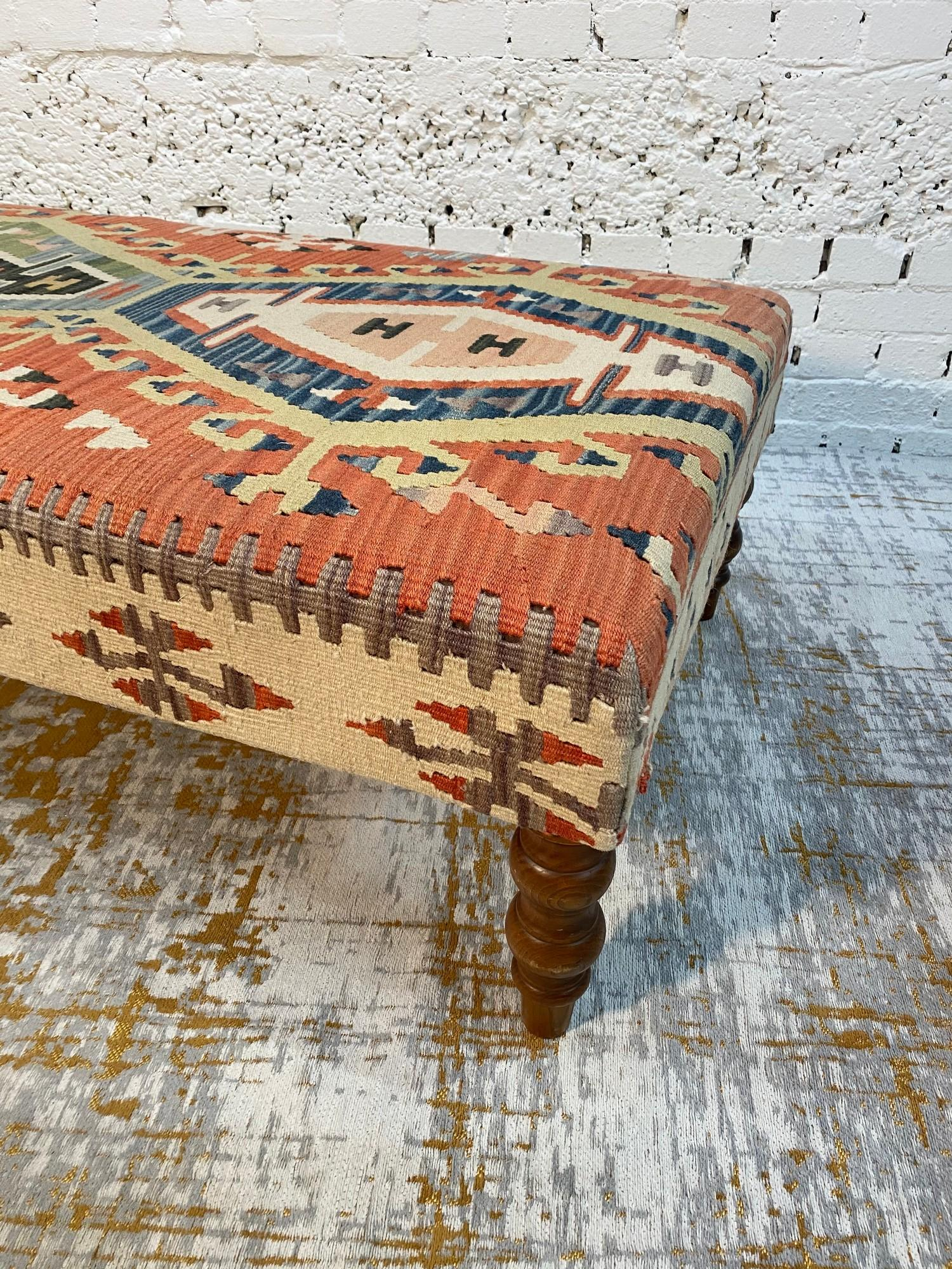 KILIM HEARTH STOOL, George Smith style, raised on turned supports, 40cm H x 120cm x 70cm. - Image 4 of 4