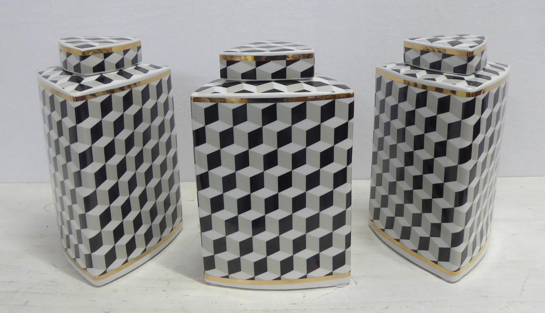 GINGER JARS, a set of three, 1950's Italian style, 26cm H. (3)