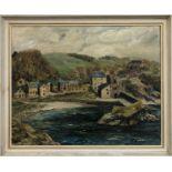 JOHN NOBLE (20th century British), 'Clovelly Harbour', oil on canvas, 45cm x 55cm, signed, framed.