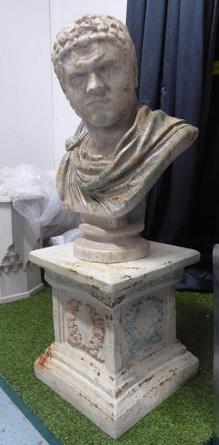 CLASSICAL STYLE BUST, on pedestal, faux aged stone finish, 111cm H approx. (2)