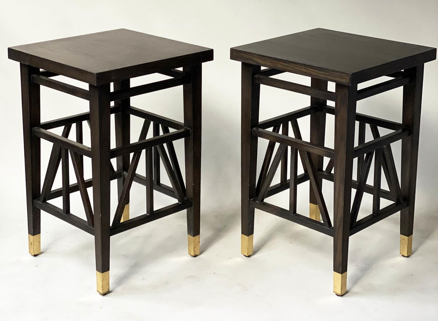 LAMP TABLES, a pair, Liberty style black lacquered, square tops with brass tipped supports, 40cm x - Image 5 of 5