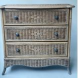 CHEST, vintage bamboo, rattan and cane bound, two tone with three long drawers, 90cm W x 45cm D x
