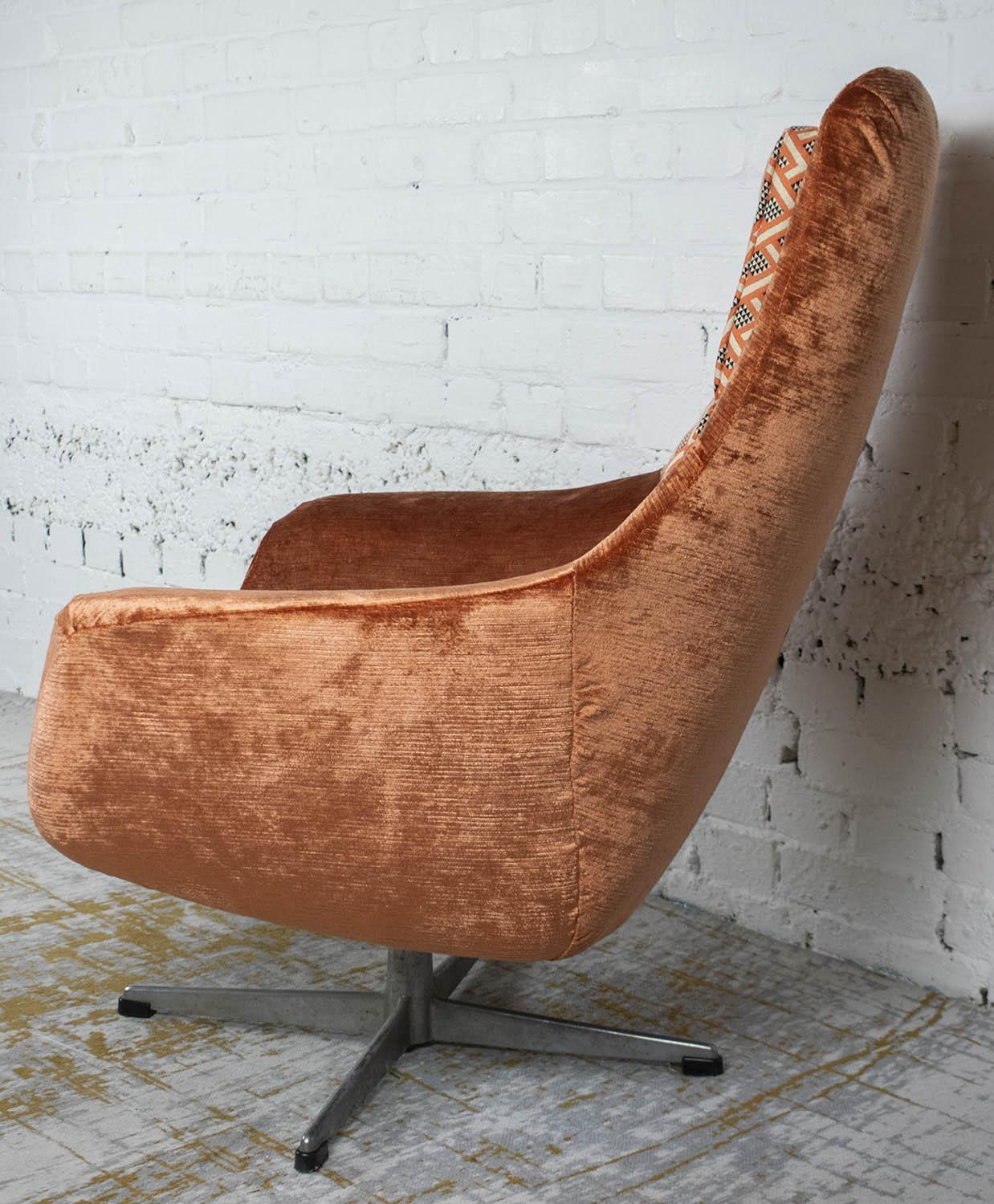 SWIVEL CHAIR, mid 20th century Swedish in Linwood peach, black and white geometric material and - Image 2 of 3
