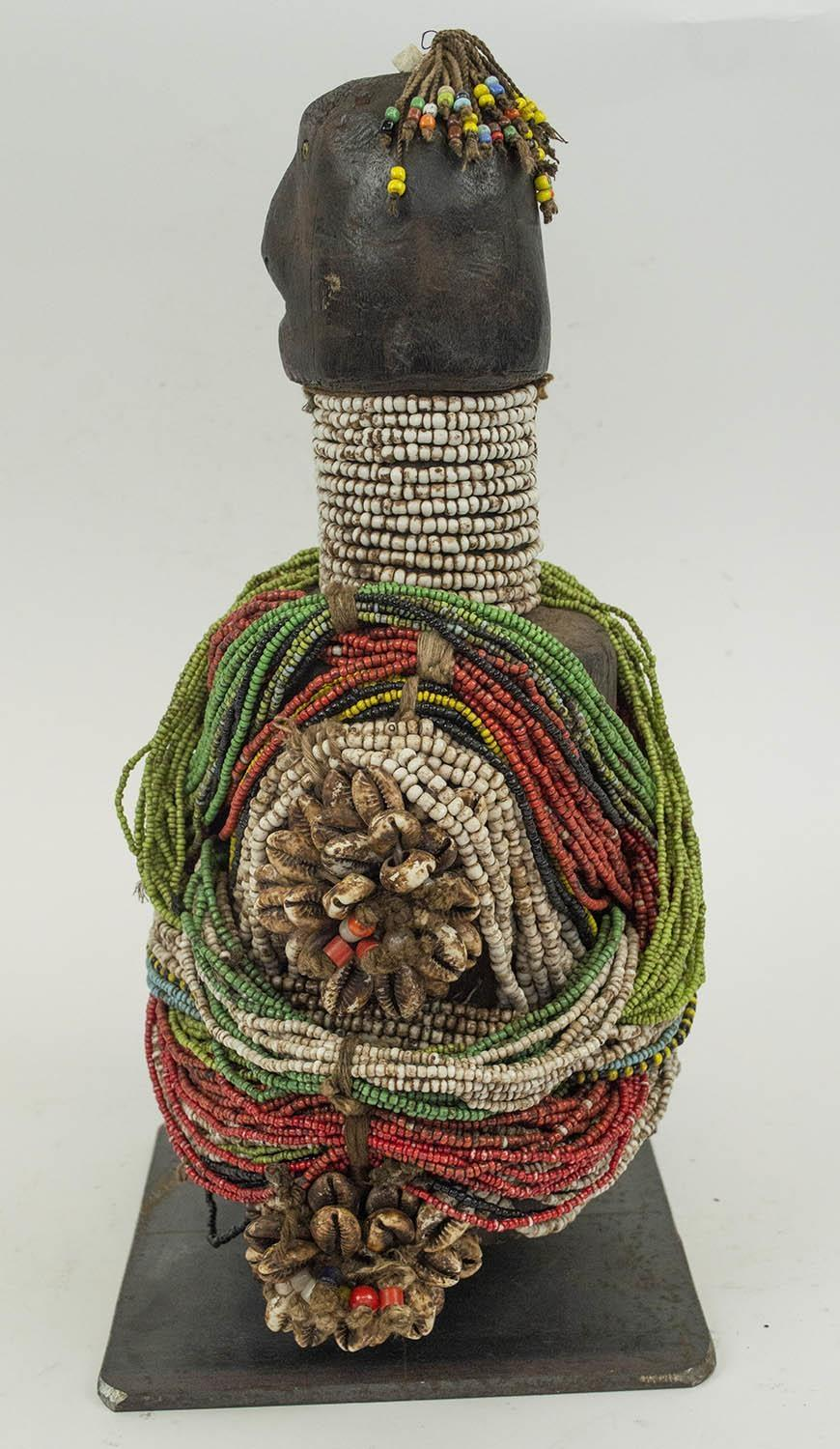 FALI RITUAL DOLL, from Cameroon, adorned with beads and cowrie shells, 40cm H. - Image 2 of 4