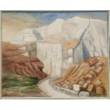 LORNA DUNN (1920-2016), 'Monte coto crema marfil quarry, Spain', oil on canvas, 80cm x 100cm,